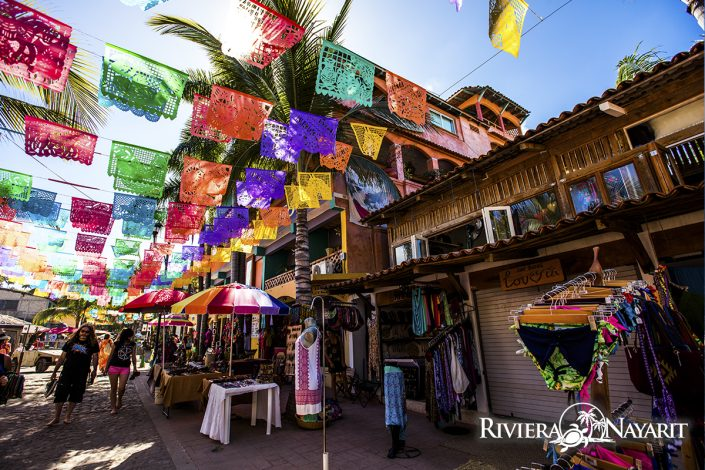 Street vendors and shopping in Sayulita Riviera Nayarit Mexico
