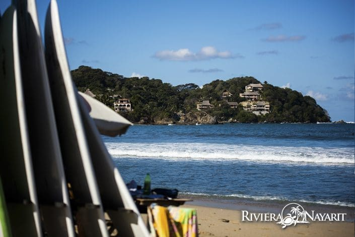 View from Sayulita beach with surf boards - Riviera Nayarit Mexico