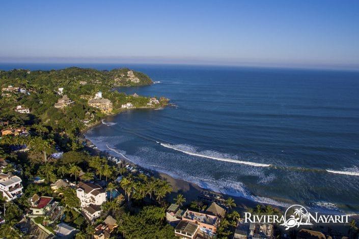 Aerial view of Sayulita and beach in Riviera Nayarit Mexico