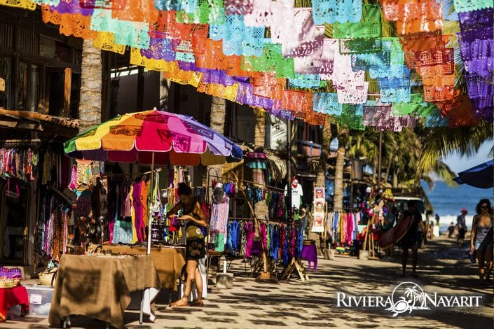 Colourful market in Sayulita Riviera Nayarit Mexico