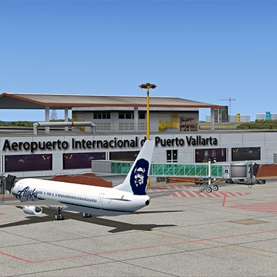 Aeropuerto Vallarta in Rivera Nayarit MX - image of Alaska Airlines plane at a gate
