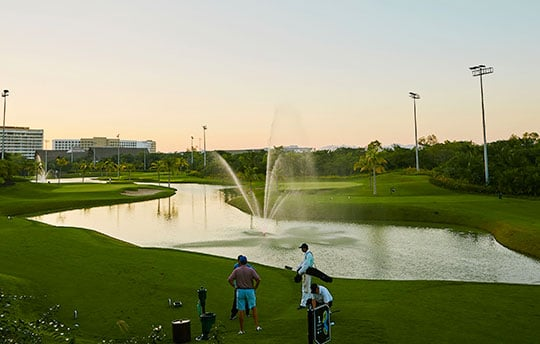 Pond fountain at Jack Nicklaus Vidanta Golf Course in Nuevo Vallarta Riviera Nayarit MX