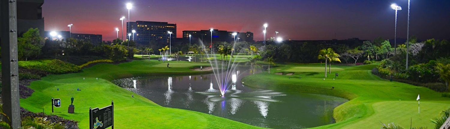 Pond fountain at night - Vidanta Golf Course in Nuevo Vallarta Riviera Nayarit MX