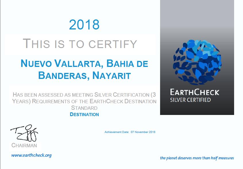 2018 Earth Check Certified - Nuevo Vallarta Bahia de Banderas Rivera Nayarit