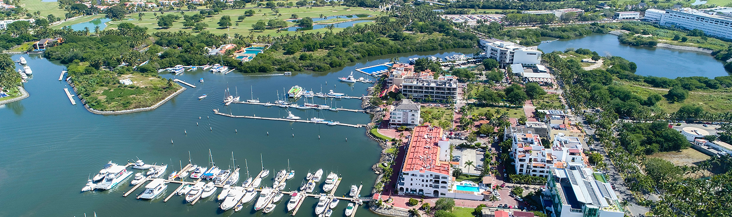 Nuevo Vallarta marina shown from above