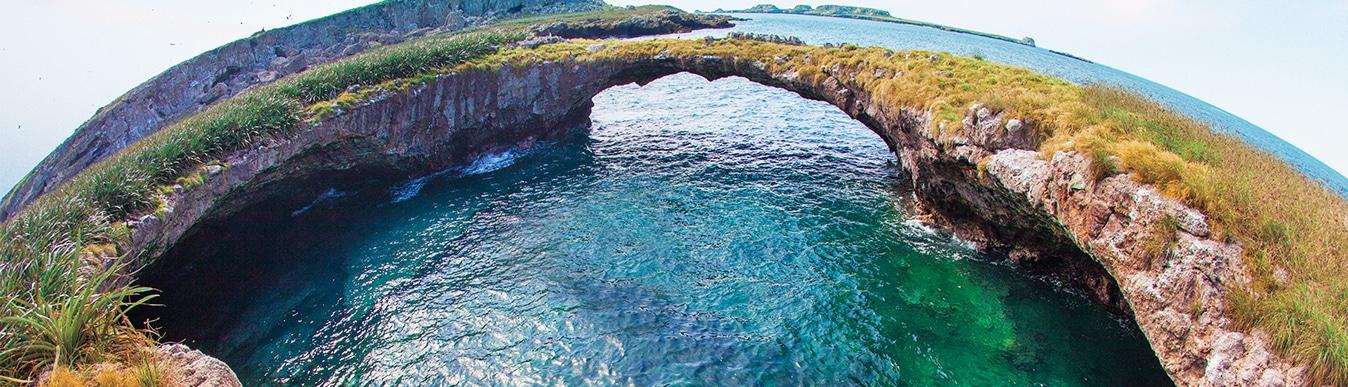 Wide angle view of Marieta Island in Riviera Nayarit