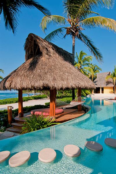 Poolside Palapa hut at Palmasola hotel in Punta Mita Nayarit