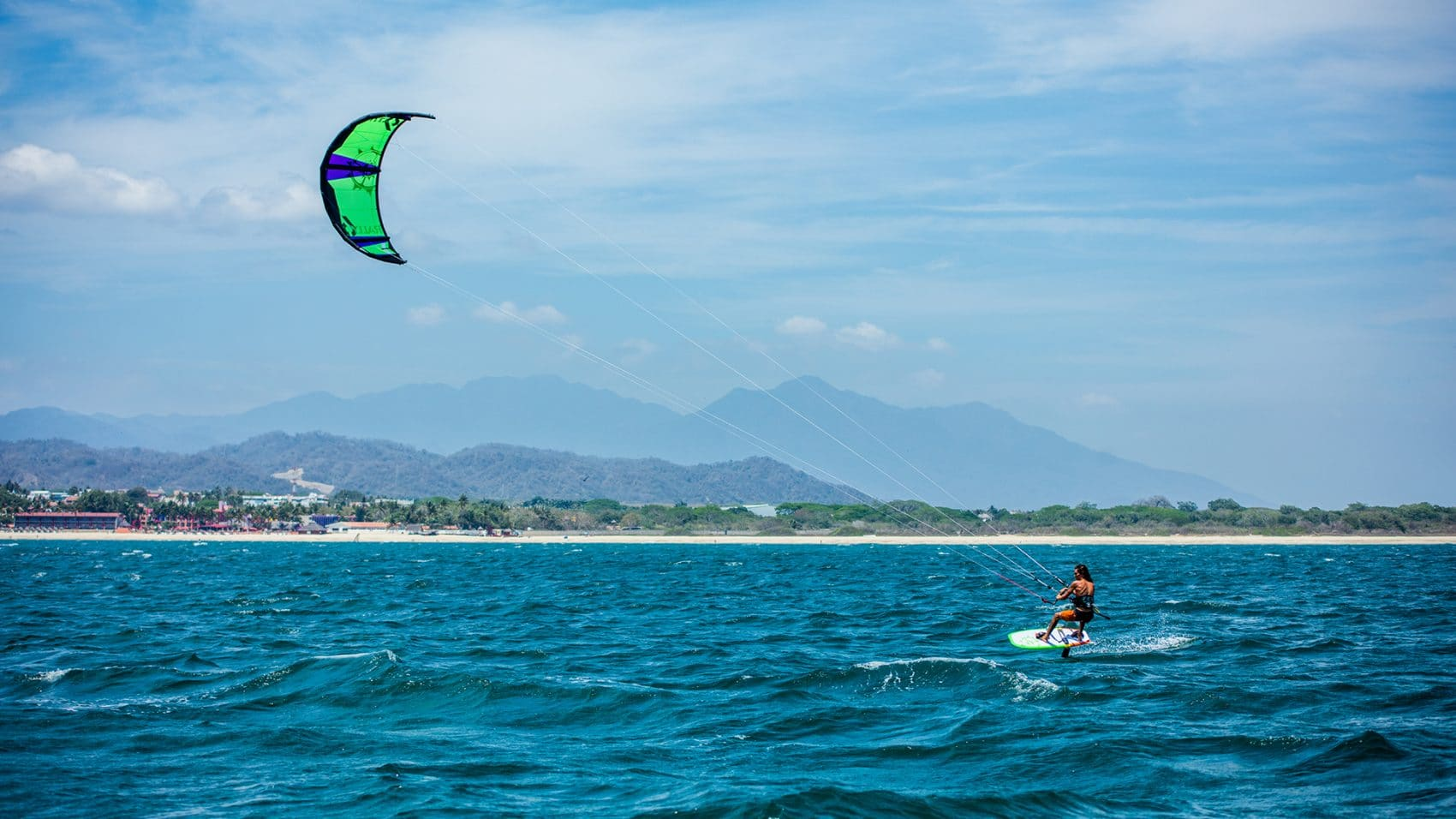 Kite surfing on the Pacific Ocean in Riviera Nayarit