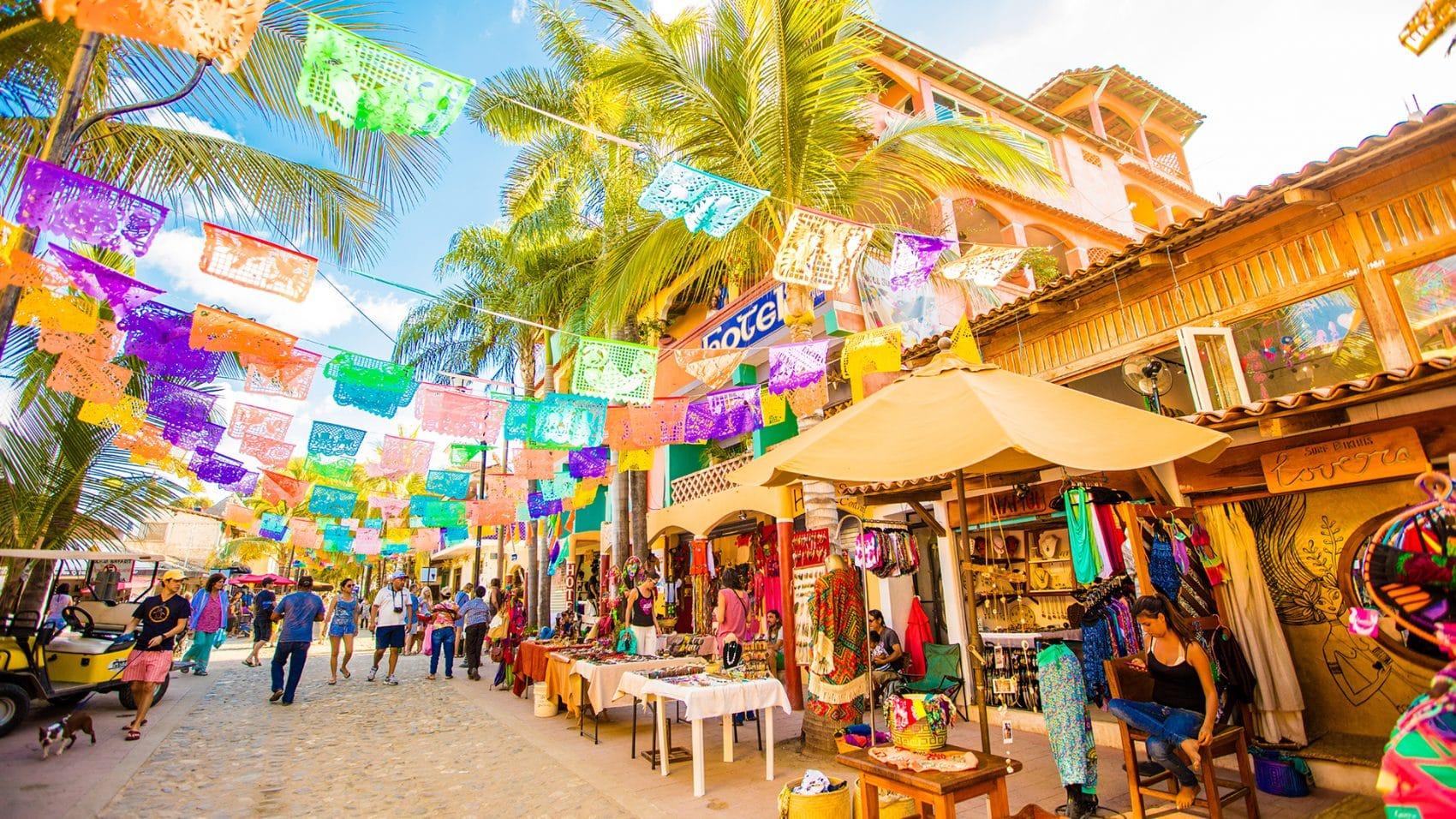 Colourful street market in Sayulita Rivera Nayarit