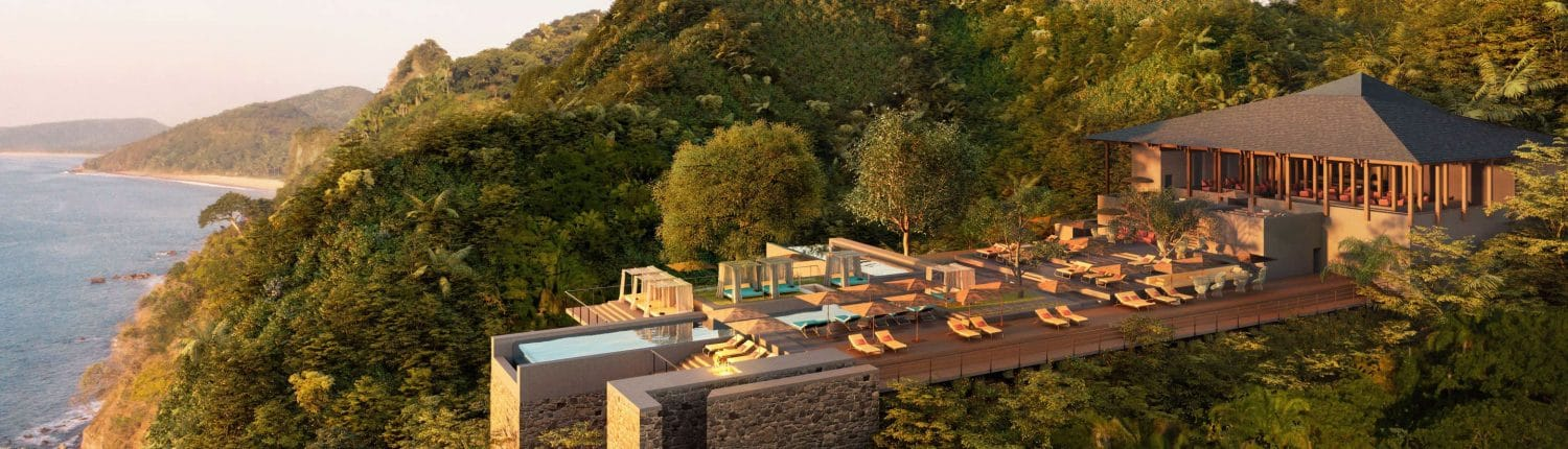 Mountaintop infinity pool at One and Only Mandarina Lo de Marcos Riviera Nayarit Mexico