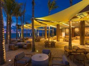Conrad Hotel beach lounge at night - Punta de Mita Riviera Nayarit Mexico