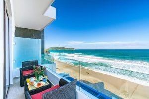Balcony view of the beach and ocean at Xiobella Hotel in Punta Mita Riviera Nayarit MX