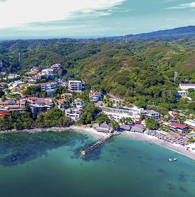 Arial view of the beach and town of La Cruz de Huanacaxtle in Riviera Nayarit Mexico